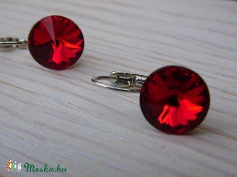 Red - swarovski rivolis  fülbevaló, Ékszer, óra, Fülbevaló, Ékszerkészítés, Meska