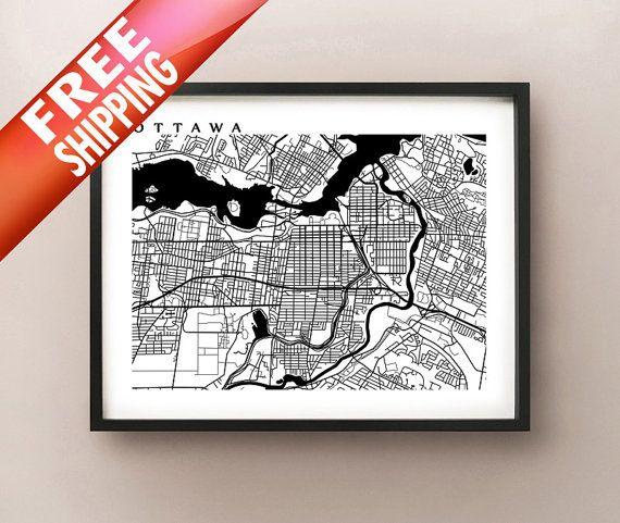 Ottawa Map Art - Canada Wall Art - Ontario - Rideau Canal, Parliament Hill