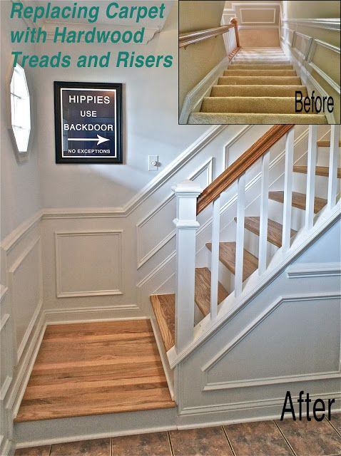 How to replace carpet with hardwood stairs...this family has a ton of great DIY ideas about home improvement on their family blog.