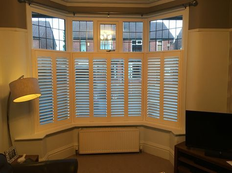 Another recent Café Style 3 Sided Bay Window Shutter Installation in Stockport. These are bi-folding plantation shutters, with 64mm (small) slats and hidden control rods, kiln dried & lacquered in gloss white for ultimate durability. #AbsoluteShutters #PlantationShutters #WindowShutters #Hardwood #Shutters #WoodenShutters #Wood #Stockport #CheadleHulme #Cheshire #Manchester #Bay #Window #Bright #White #Cafe #Stye #Hidden #Privacy #Kiln #Dried #Lacquer #Durabilty