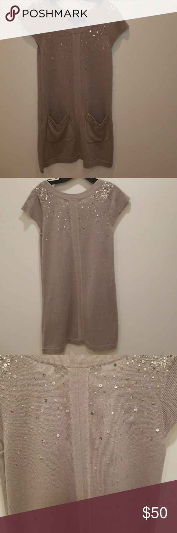 French connection sequin detail dress Fits like a dress or wear as a tunic with leggings! Gray color with silver sequin detail. Pocket detail towards bottom of garment. French Connection Dresses Mini