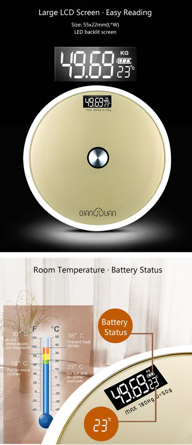 LCD Round Bathroom Electronic Scale with Room Temperature Measurement Sensor Switch Weighing Balance