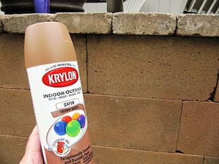 Spray paint cinder blocks for a stained look. Remodelaholic | Beautifying Concrete Block; Guest