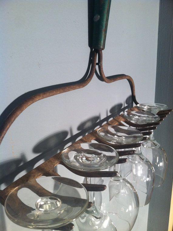 Garden rake wine glass holder