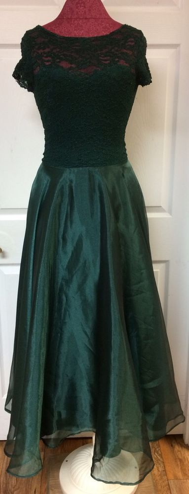 JS Collections Vintage 90s Emerald Green Lace Long Formal Prom Dress Sz 6 Party #JSCollections #Prom