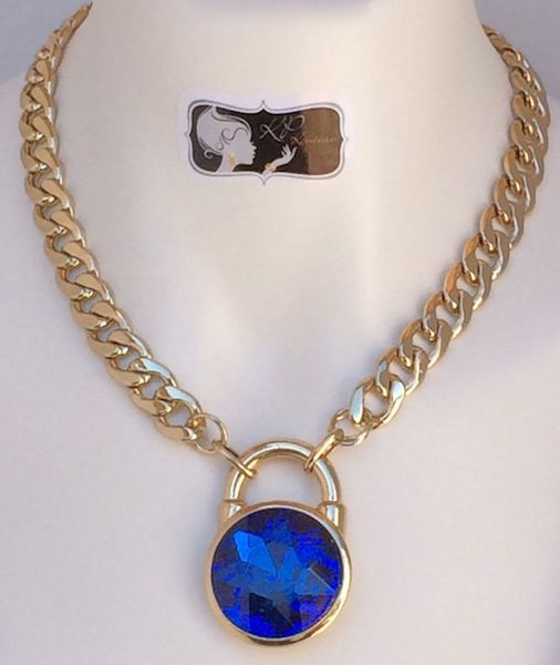 Thick Gold Chain Necklace with Sapphire Lock Pendant