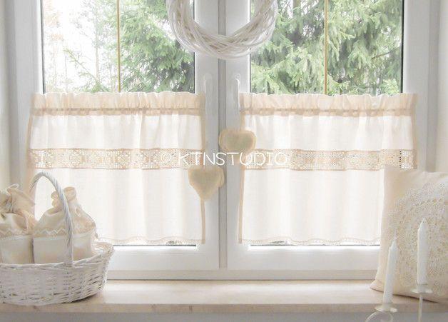 Gardinen - Baumwolle Kurzgardinen Set 90x50 - ein Designerstück von ktnstudio bei DaWanda