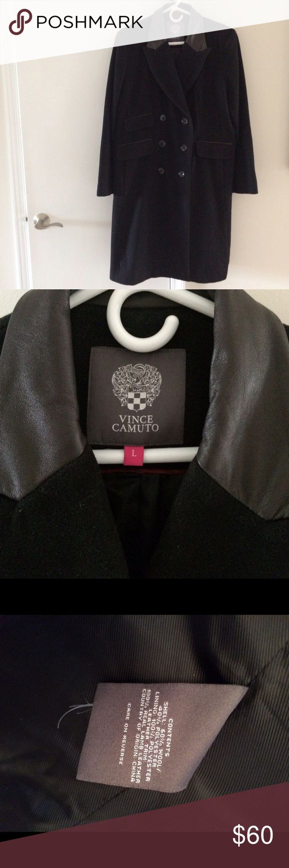 VINCE CAMUTO WOOL KNEE LENGTH COAT Black wool coat fully lined with brown leather collar and elbow patches. Vince Camuto Jackets & Coats