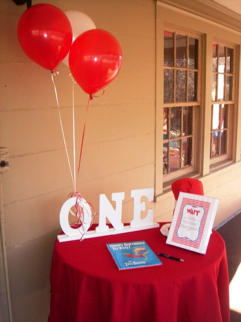 Dr. Seuss party guestbook --- sign the blank pages of HAPPY BIRTHDAY TO YOU book.