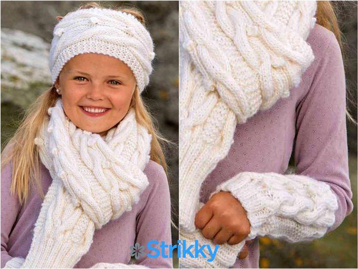 Комплект для девочки со жгутами и шишечками (повязка, шарф и митенки) вязаный спицами / Интересный комплект для девочки школьного возраста со жгутами и шишечками можно связать из довольно толстой шерстяной пряжи. В комплект входят митенки, повязка на голову и большой шарф. Выполняются все предметы[...]