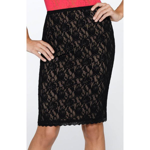 """Hanky Panky 48S231 Signature Lace 23"""" Lined Pencil Skirt ($53) ❤ liked on Polyvore featuring skirts, long skirts, floral print pencil skirt, pencil skirt, floral skirt and stretchy pencil skirt"""