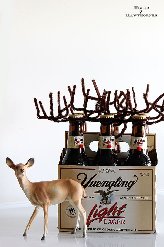 How to make your beer (or pop for that matter) bottles into cute little reindeer for the holiday season.  They make a great DIY Christmas hostess gift too.