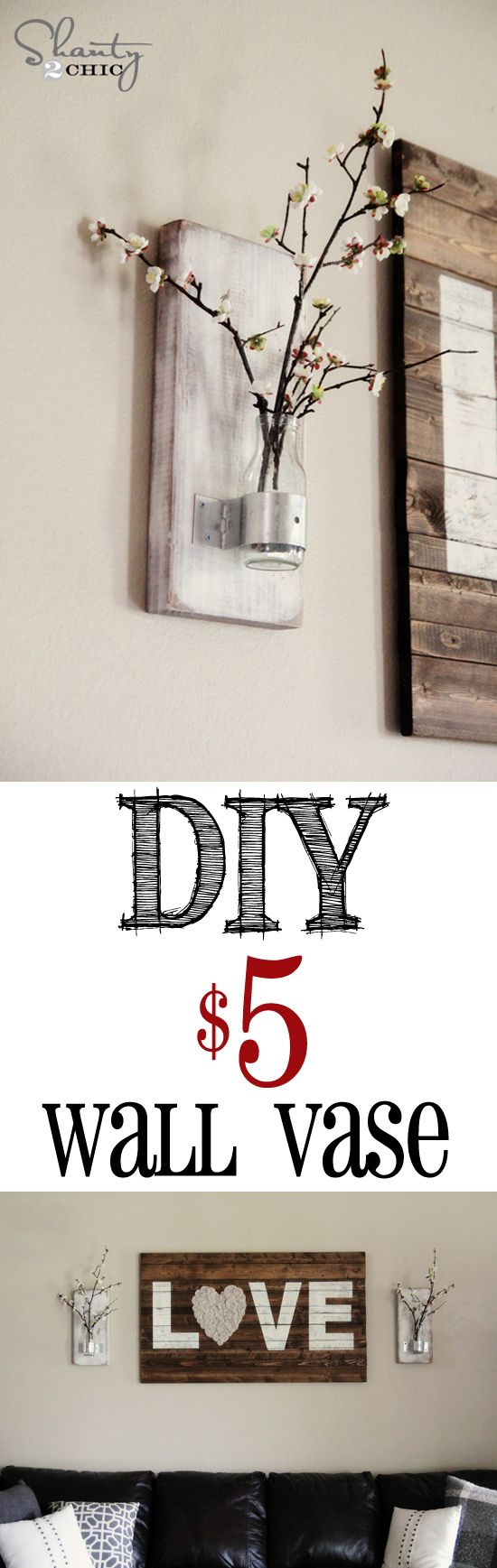 DIY Bottle Wall Vase... So cheap and EASY!!!