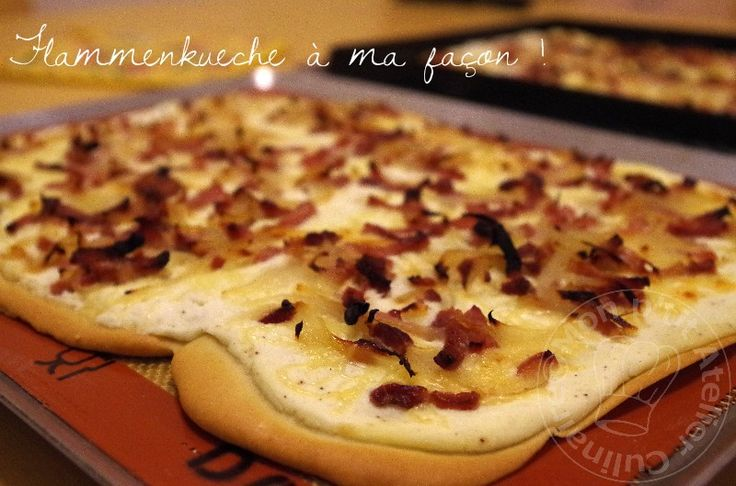 * Dimanche soir j'avais envie de faire une Flammekueche, mais en cherchant une recette, j'ai vu dans les ingrédients qu'il fallait du fromage blanc! Mince, je n'en avais pas. C'est sur le très jol...