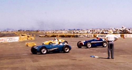 Finish of the VRRC Race at Fishermans Bend, October 1958. Gray won in the 'red nosed' Tornado, yellow car Austin Miller's Cooper T41 Climax and Ern Seeliger's blue Maybach 4 Chev (David Van Dal)