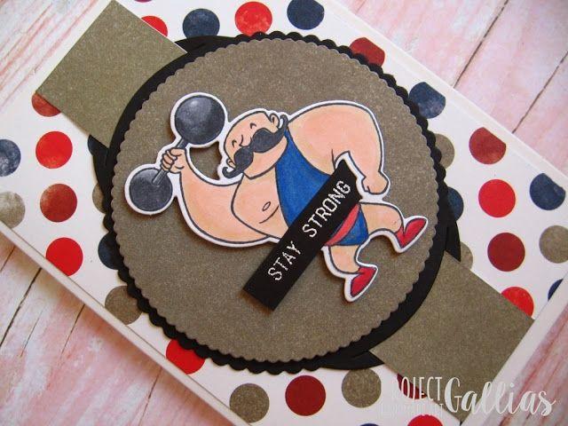 ProjectGallias: Kartka z siłaczem, Card with strongman #projectgallias, card, strongman, retro, stay strong, kartka, siłacz, atleta