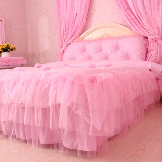 Aliexpress.com : Buy Home textile lace 2013 100% rose cotton four piece set 100% cotton princess bedding pink bedrug from Reliable home decor textiles suppliers on Queen King Bedding Set . $128.80