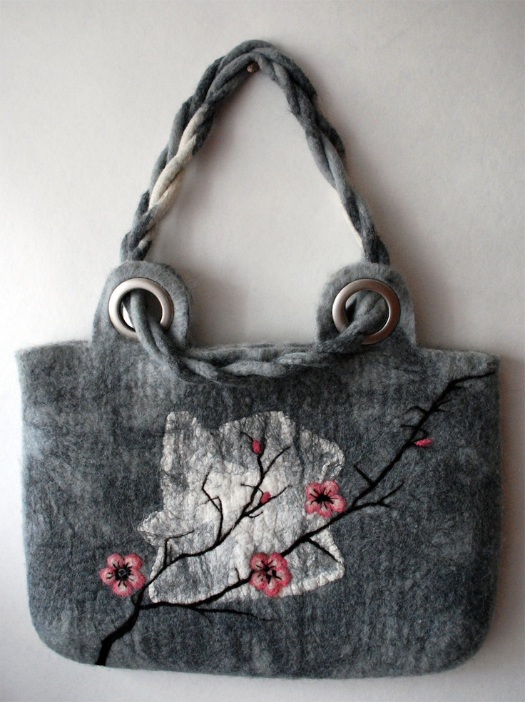 "Gorgeous Felted bag ""Sakura"" via Etsy."