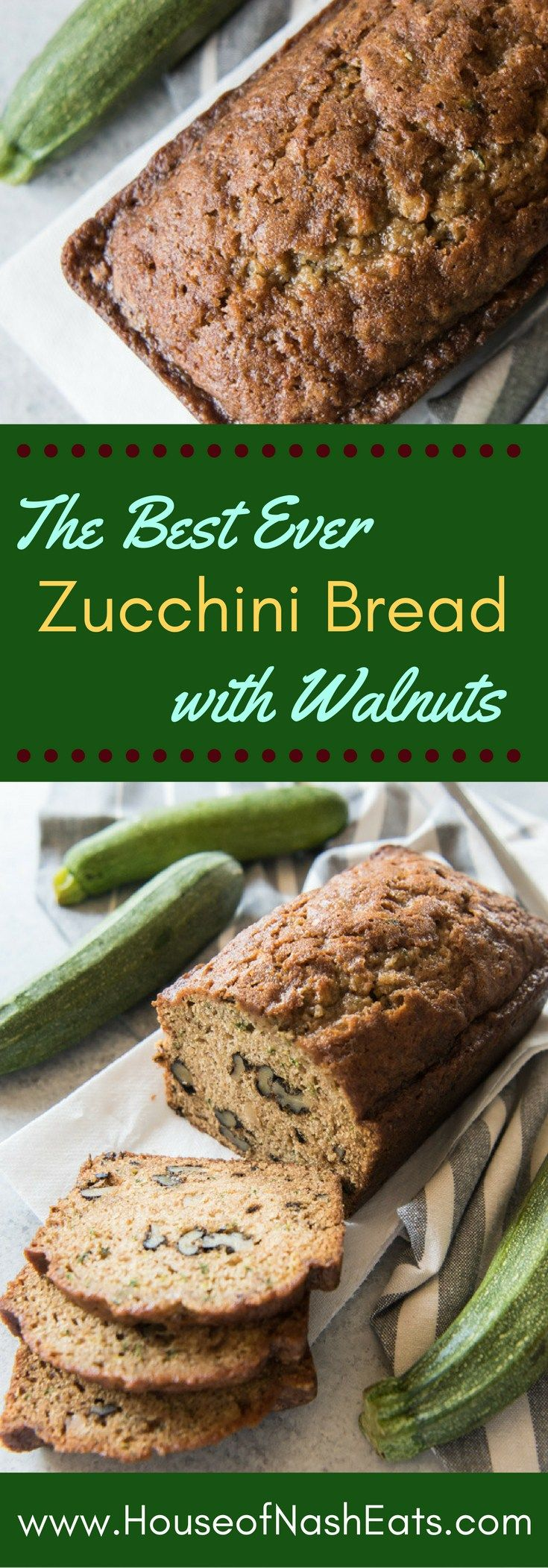 Moist, tender zucchini bread, perfectly spiced with cinnamon and cloves and…