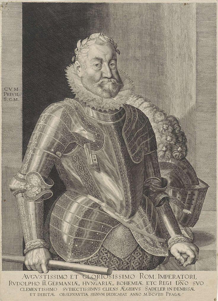 Aegidius Sadeler | Portret van keizer Rudolf II, Aegidius Sadeler, Rudolf II van Habsburg (Duits keizer), 1609 | Rudolf II, keizer van het Heilig Roomse Rijk in harnas, staand bij tafel. In zijn rechterhand een staf, in zijn linkerhand een zwaard. Met een Latijnse opdracht aan de keizer onder het portret.
