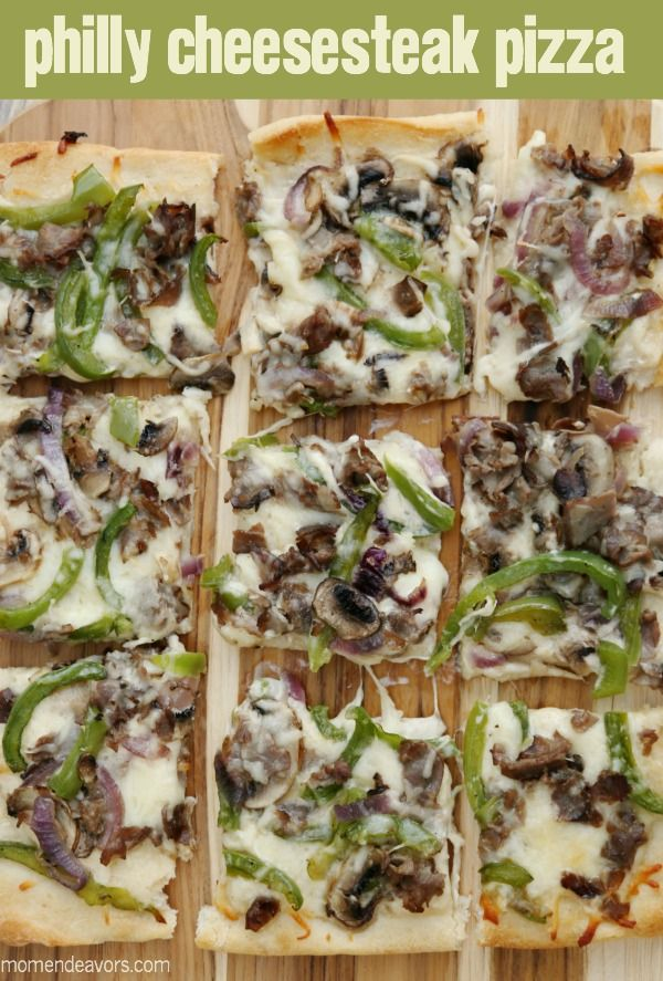 Philly Cheesesteak Pizza- easy to make and SO tasty! #NewTraDish (sponsored)