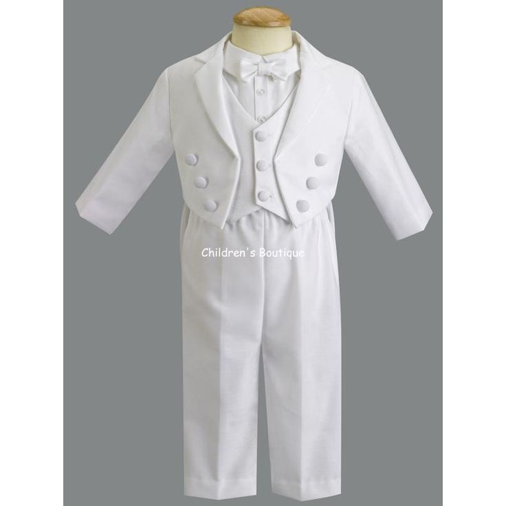 Baby Boy Tuxedo: Adorable! Baby boy cotton tuxedo with pique vest and bow tie.  Boys tuxedo shirt has convenient snaps at bottom for a secure fit.  Comes with everything pictured.  Designer label ensures the highest in quality!    Made in the USA