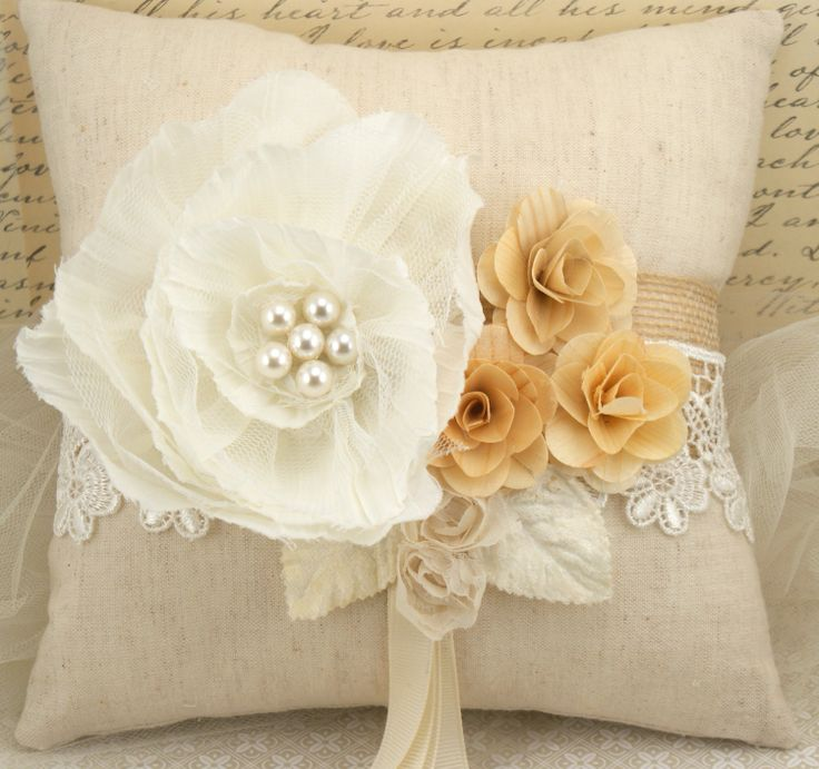 Bridal Ring Bearer Pillow in Ivory Rustic Shabby Chic Outdoor Wedding - Au Natural Collection ...