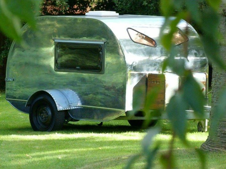 Teardrop caravan available for rent at The Painted Furniture Company of Nottinghamshire