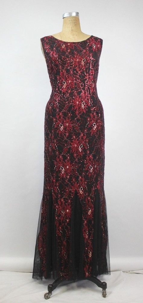 Candalite Womens 3x Red Black Gold Sequin Mermaid Evening Gown