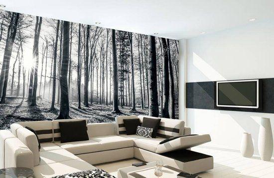Fotobehang - Forest - 232 x 315 cm - Zwart/Wit