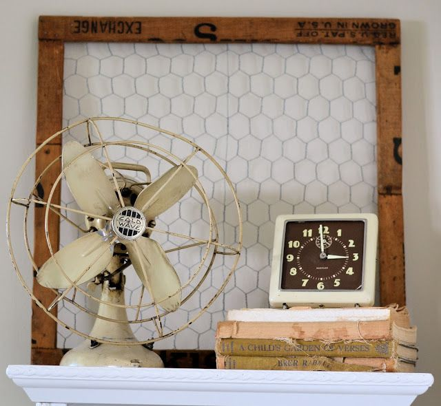Nice old fan and black faced electric clock. Shabby Love: Industrial Chic Bedroom Reveal