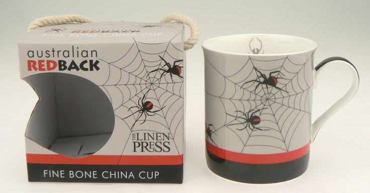 Red Back fine bone china cup