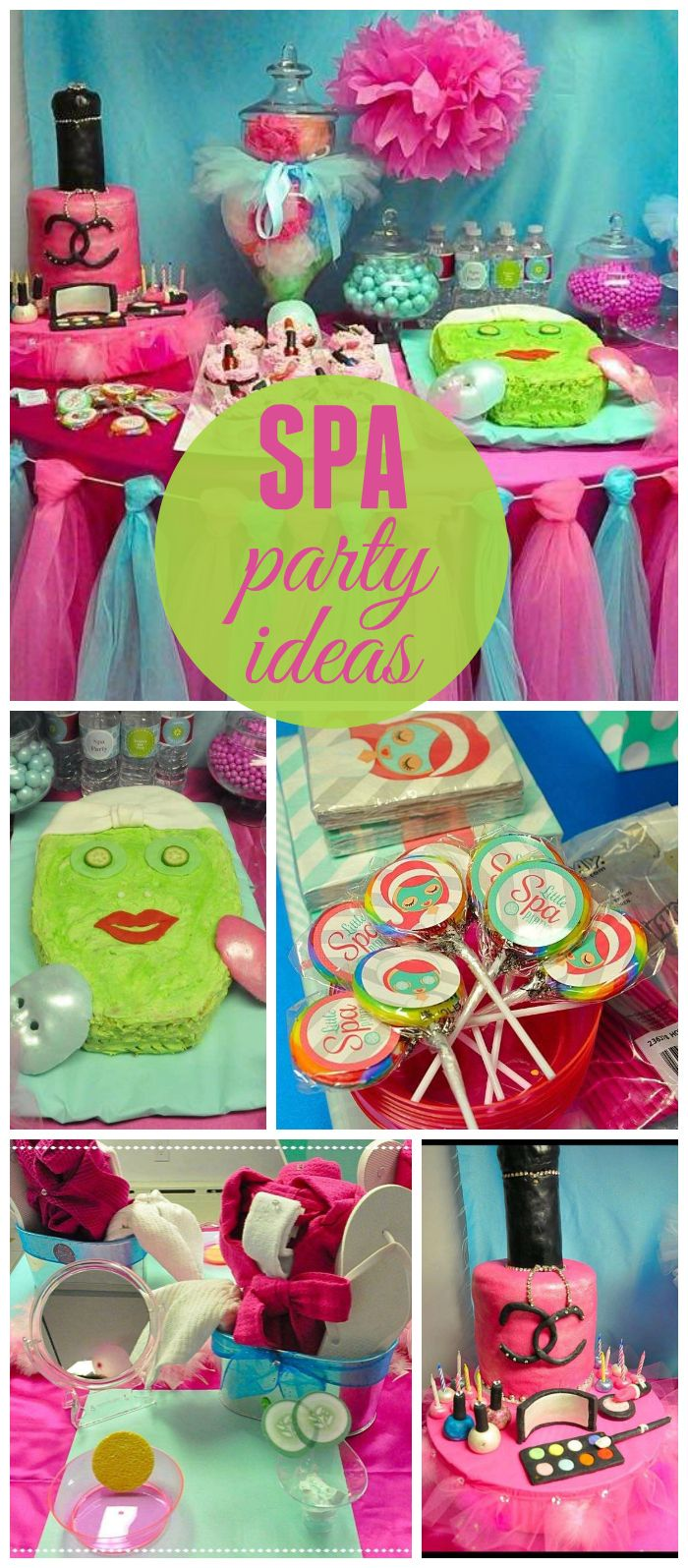 A spa girl birthday party with DIY flip flops, a snake tuna sandwich, pizza and a nail polish cake! See more party planning ideas at CatchMyParty.com!