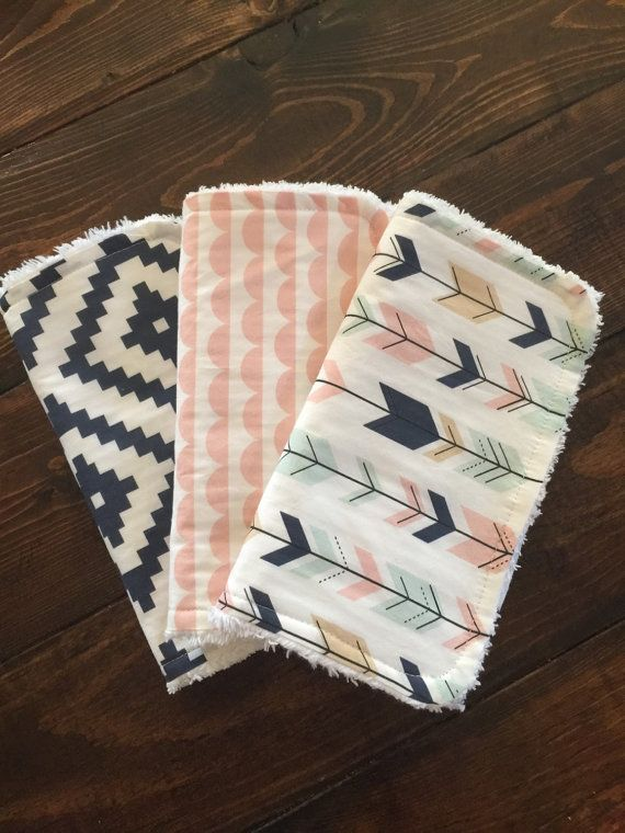 Burp cloths, baby gift, shower gift, arrows, navy aztec, aztec, modern burp cloths
