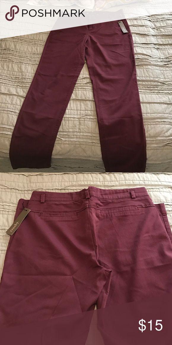 Crosby Women's Skinny Pants NWT. Color is maroon/burgundy. Crosby Pants Skinny