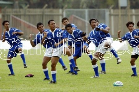 DURBAN, SOUTH AFRICA: 1 April 2005, The Samoan haka during the IRB U19 World Championship match between Samoa and Zimbabwe at Kings Park in Durban, South Africa Photo Credit - Gallo Images