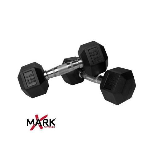 XMark Pair of 15 lb. Rubber Hex Dumbbells