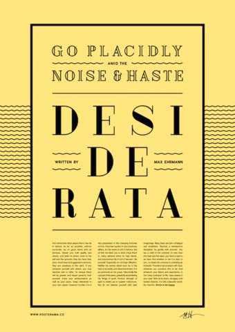 Inspirational quotes: Desiderata typography poster 3