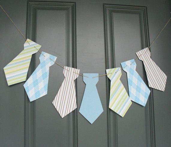 Little Man necktie banner Birthday party, baby shower - Blue, Brown, Green or custom