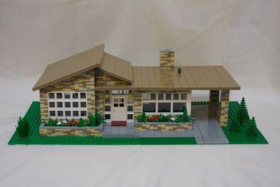 Mid Century House Model Built of Legos!