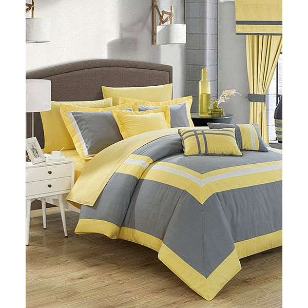 Lovely Chic Home Design 20 Piece Gray U0026 Yellow Comforter Set ($100) ❤ Liked