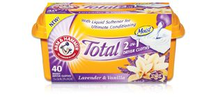 Arm & Hammer Lavender & Vanilla dryer sheets... they smell awesome. (Prefer the regular dryer sheets, but of course, they're not available anymore. sigh.)