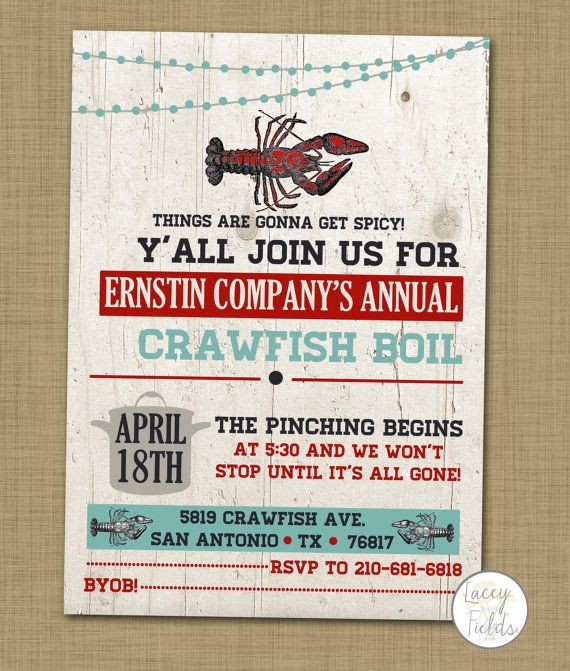 Crawfish boil invitation Crawfish boil party invite by laceyfields