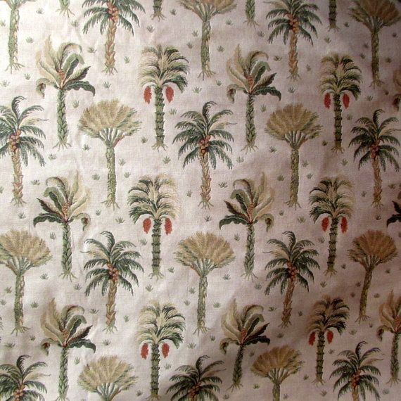 Tapestry fabric with Palm Trees on light tan/ecru by reneesfabrics