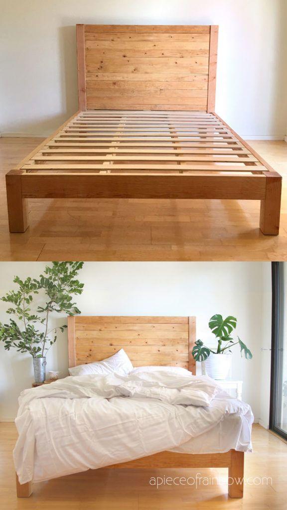 Diy Bed Frame Wood Headboard 1500 Look For 100 In 2020 Diy Bed Frame Diy Bed Frame Easy Wood Bed Frame