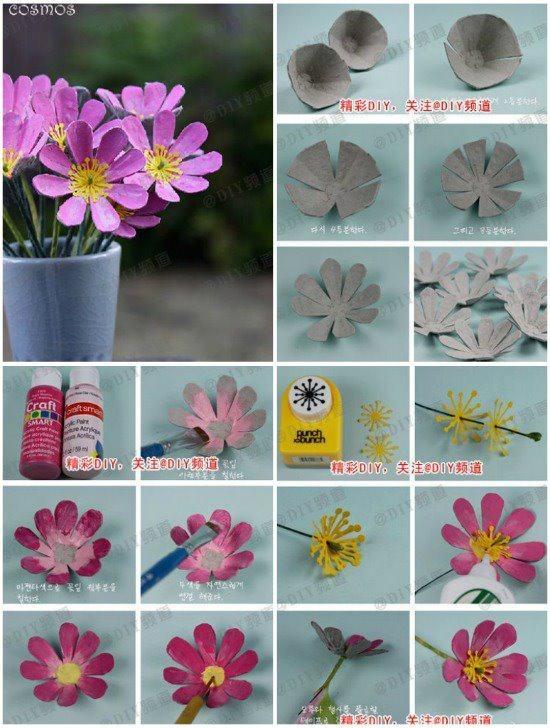 .flores con cajas de huevos