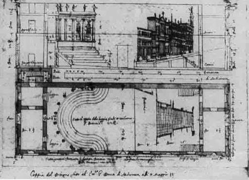 Ground plan and cross section by Scamozzi
