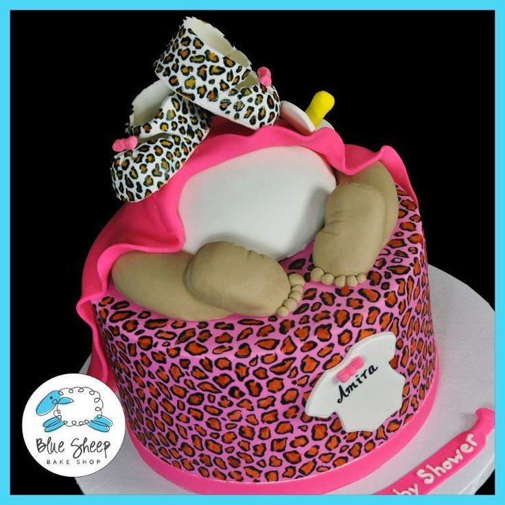 Leopard baby shower cake