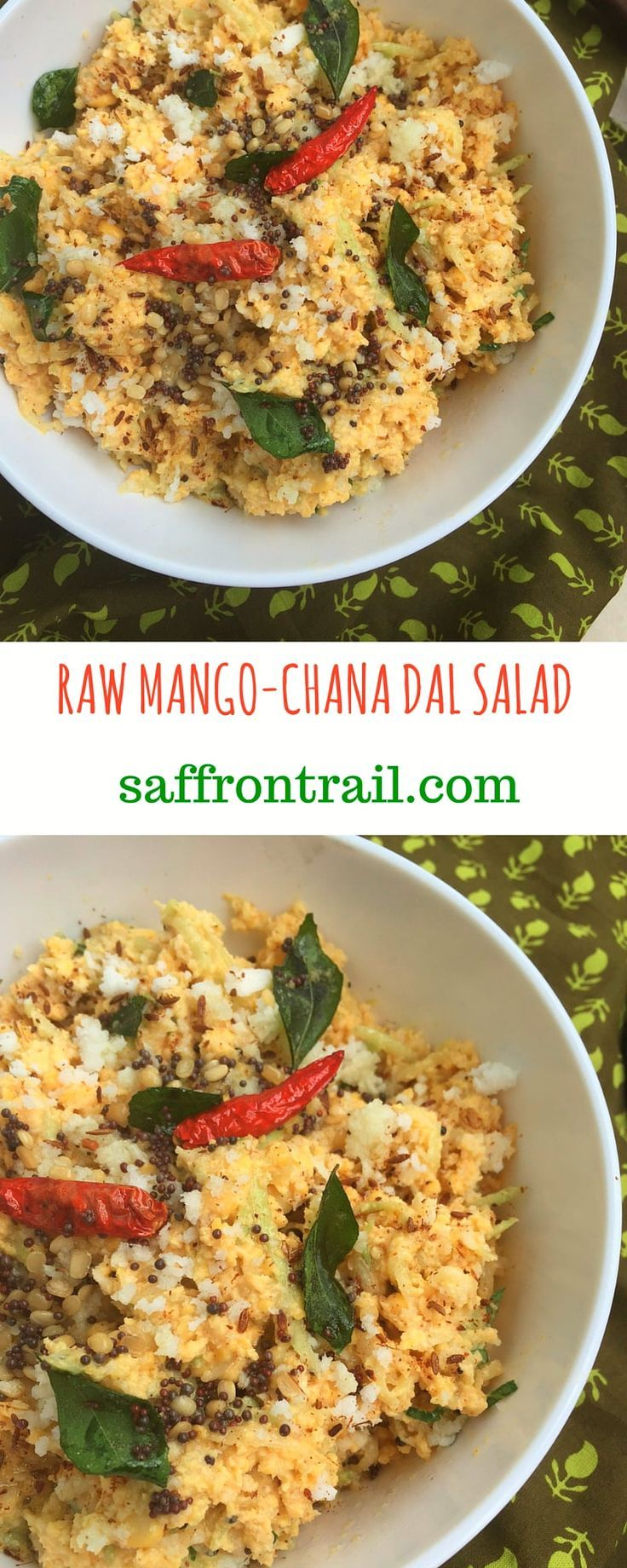 A simple raw mango and chana dal salad, no cooking required. Make use of the raw mangoes in season to prepare this delicious Indian meal accompaniment.