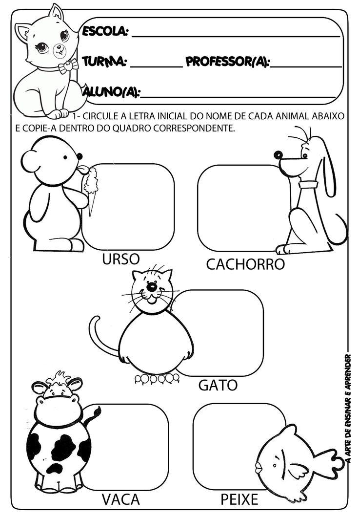 A Arte de Ensinar e Aprender: Atividades prontas letra inicial e projeto animais